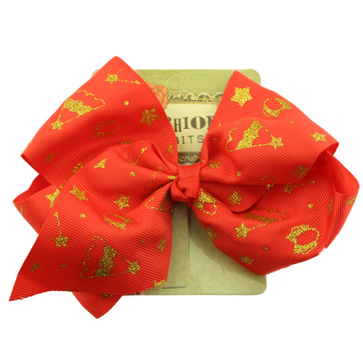 wholesale red wide  grosgrain ribbon hair bow  hair alligator clip silkscreen print Christmas bow hair accessories at factory price from SGS audit facility sohobucks - SOHOBUCKS CO.,LIMITED