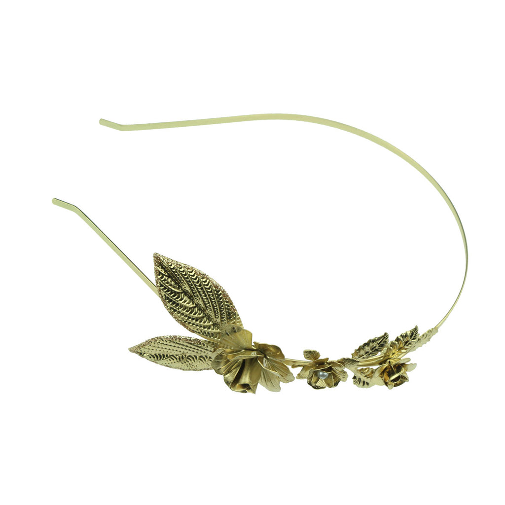 wholesale vintage fashion gold metal leaves rose flower pear metallic headband  hair band for girls and women 6496