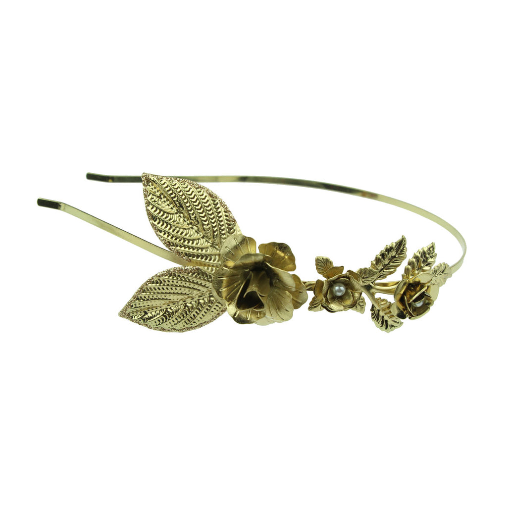 wholesale vintage fashion gold metal leaves rose flower pear metallic headband  hair band for girls and women 6497