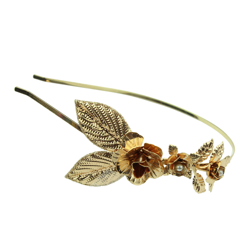 wholesale vintage fashion rose gold metal leaves rose flower pear metallic headband  hair band for girls and women  6498