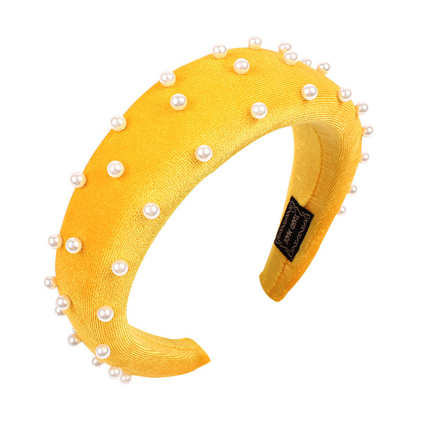 Sponge Thick Velvet Headbands Padded Hairband for Women Hair Accessories Wide Faux Pearls Hair Hoop Head Bezel Headwear