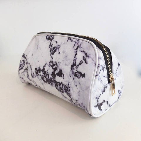 black and white marble cosmetic bag