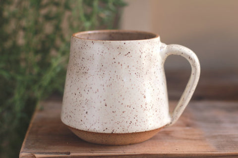spotted ceramic coffee mug