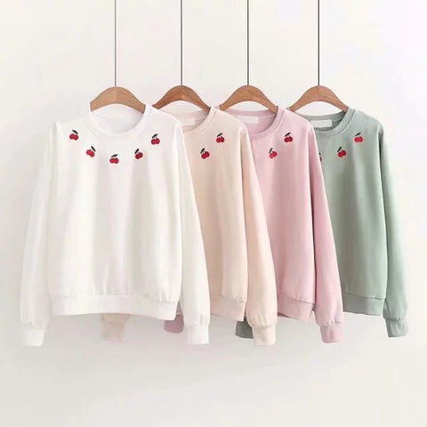 JAPANESE CHERRY EMBROIDERY SWEATERS