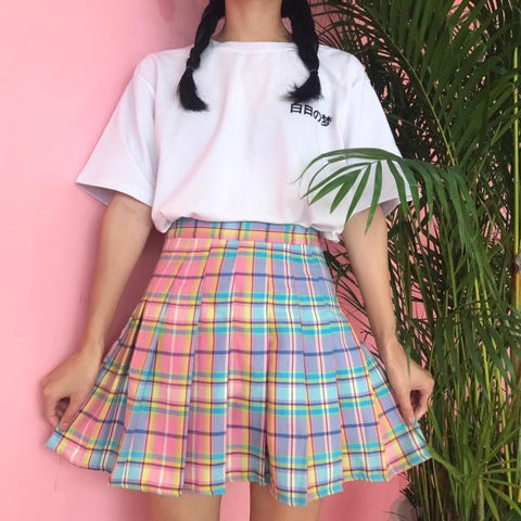 IUYZW RAINBOW GRADIENT PLAID SKIRTS