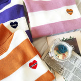 STRIPED TURTLENECK HEART SWEATER