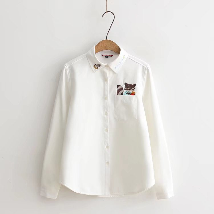 SlogPith SMALL FOX EMBROIDERED SHIRT (PLUS VELVET)