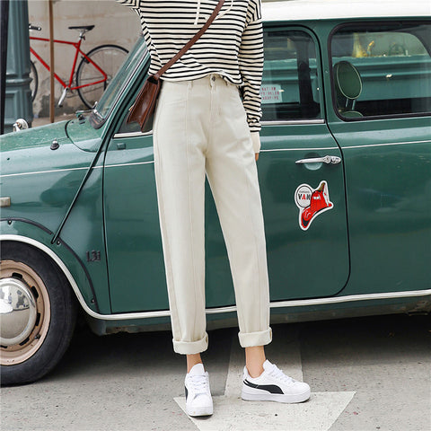 APRICOT STRAIGHT DENIM PANTS