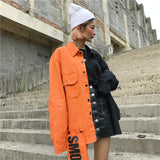 SlogPith COLORBLOCKING AB SURFACE LETTER PATCH DENIM JACKETS
