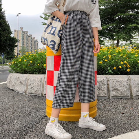 SlogPith PLAID CASUAL PANTS NINE PANTS