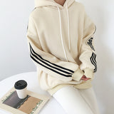 SIDE STRIPED LETTER LOOSE SWEATERS