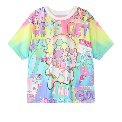 ANIMAL COLOR PRINTING LOOSE TEES