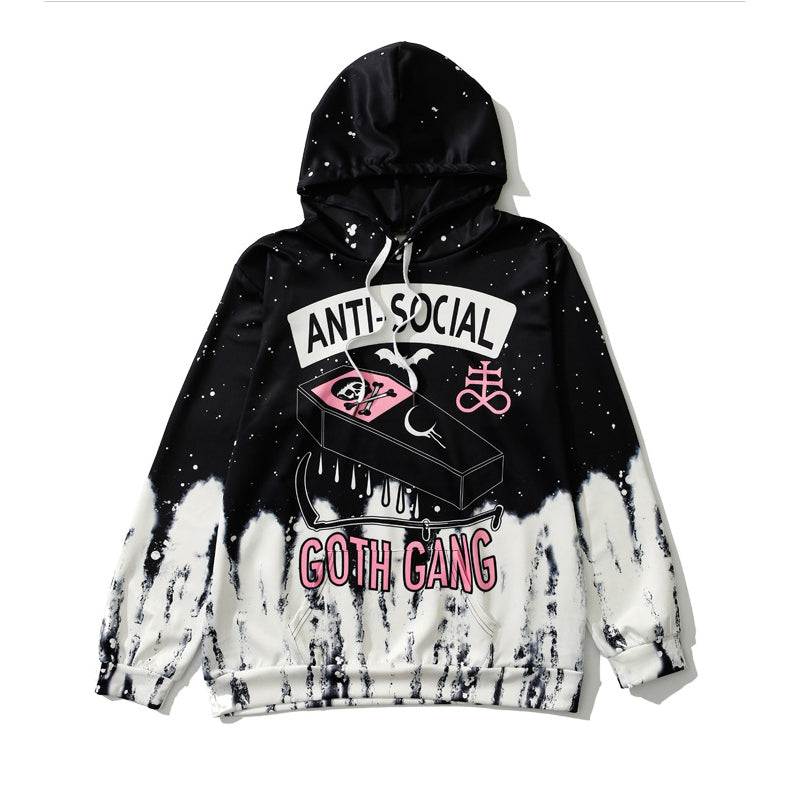 SlogPith ANTI-SOCIAL SKULL PRINT HOODED SWEATERS