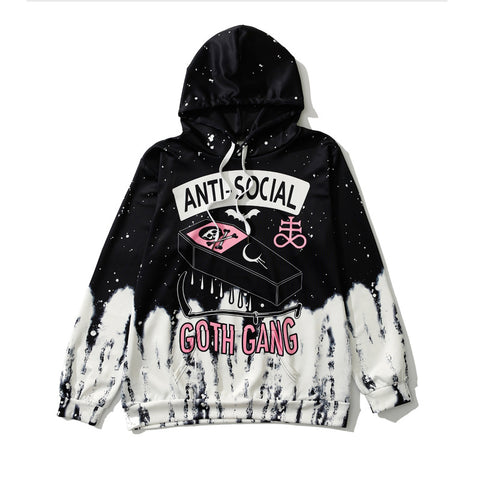 ANTI-SOCIAL SKULL PRINT HOODED SWEATERS