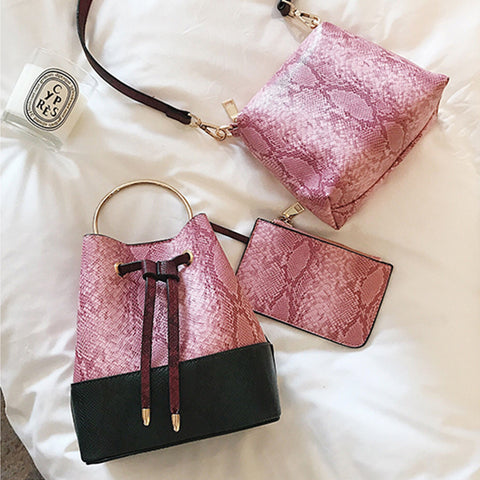 3 COLORS IMITATION SNAKESKIN BAGS