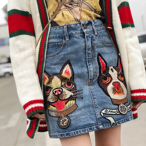 DOG EMBROIDERED SKIRT DENIM SKIRTS