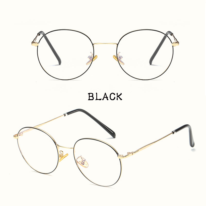 IUYZW 5 COLORS LITERARY ROUND FLAT GLASSES