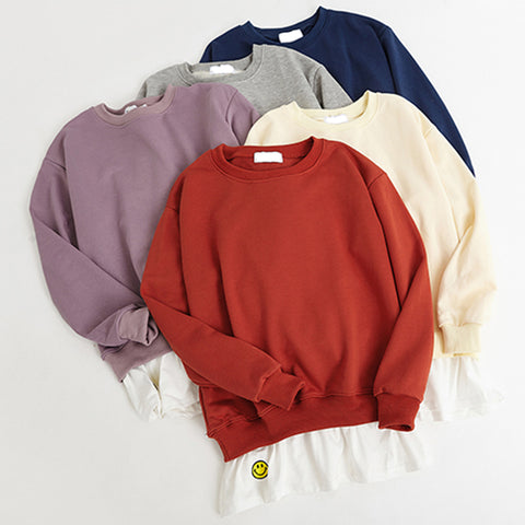 SlogPith 5 COLORS FAKE TWO PIECES SMILING FACE SWEATERS