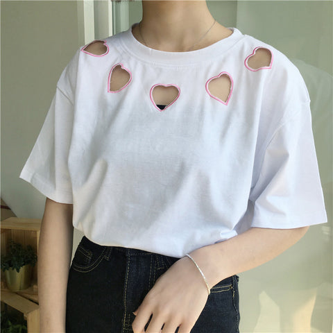 5 EMBROIDERY HEART CUTOUT TEES