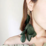 IUYZW BOHEMIAN STYLE TASSEL EARRINGS FEATHER EARHOOK