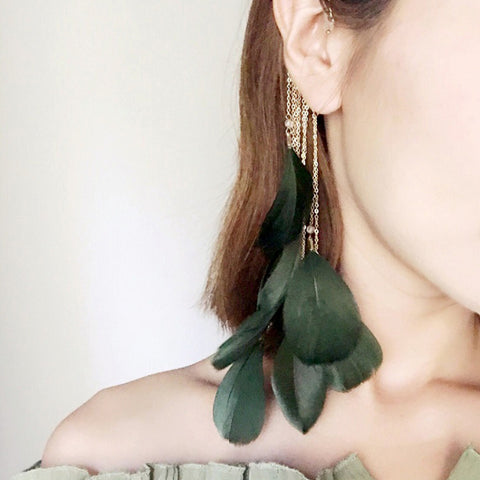 SlogPith BOHEMIAN STYLE TASSEL EARRINGS FEATHER EARHOOK