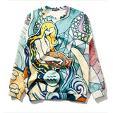SlogPith AQUARIUS PRINTING LOOSE SWEATERS