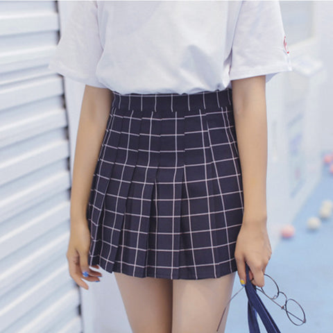 MESH PRINTING HIGH WAIST TENNIS SKIRTS PLEATED SKIRTS