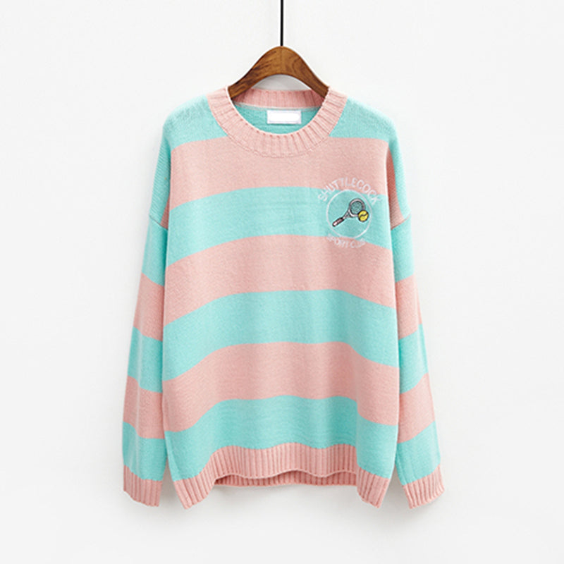 YELLOW/PINK STRIPE CARTOON BADMINTON SWEATERS