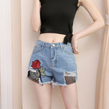 SlogPith ROSE EMBROIDERY STITCHING DENIM SHORTS BOTTOMS