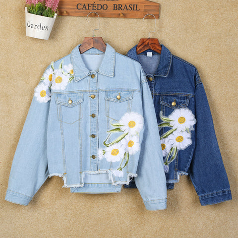 EMBROIDERY FLOWERS IRREGULAR HEM DENIM JACKETS