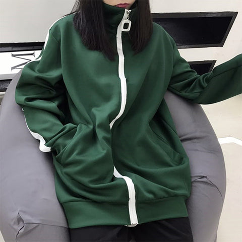 M/L DARK GREEN/BLACK LARGE ZIPPER JACKET