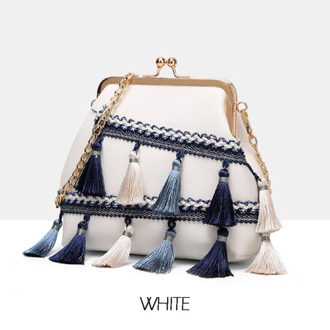 2 COLORS TASSEL SHOULDER BAGS