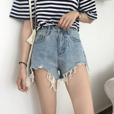 FRAYED DENIM SHORTS BOTTOMS
