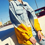 IUYZW GRADIENT HIT COLOR LETTER EMBROIDERY DENIM JACKETS