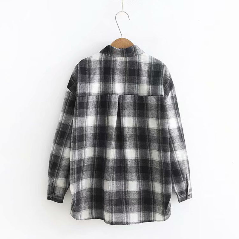 JAPANESE-STYLE MINIMALIST PLAID PRINT TOPS
