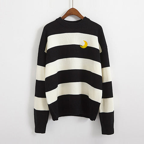 SlogPith COLLEGE STYLE STRIPED MOON SWEATERS