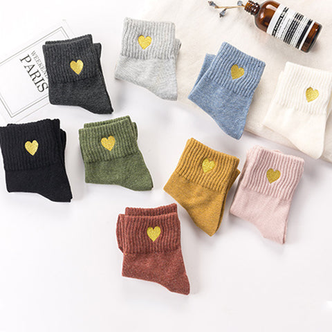 JAPANESE STYLE LOVE EMBROIDERY COTTON SOCKS