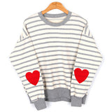 IUYZW STRIPED HEART SWEATERS