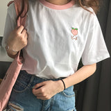 IUYZW CUTE FRUIT EMBROIDERED COTTON SHORT SLEEVE TEES