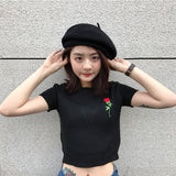 SlogPith ROSE EMBROIDERY KNIT SHORT SLEEVE TOPS