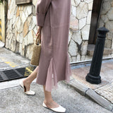 KNITTED TURMPET LONG DRESSES