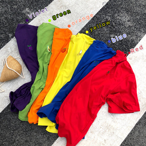 FRUIT EMBROIDERY LOOSE TEES