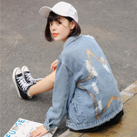 GRAFFITI FIVE-POINTED STAR LOOSE DENIM JACKETS