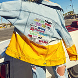 GRADIENT HIT COLOR LETTER EMBROIDERY DENIM JACKETS