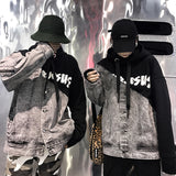 IUYZW STITCHING COLOR MATCHING PRINTED COUPLE HOODED SWEATERS