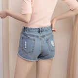 IUYZW ROSE EMBROIDERY DENIM SHORTS BOTTOMS