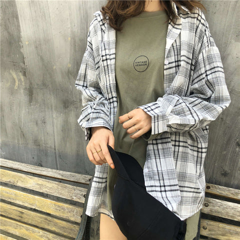 IUYZW SIMPLE BASE PLAID SHIRT TOPS