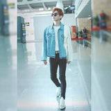 HONG KONG STYLE COLOR MATCHING COUPLE DENIM JACKETS