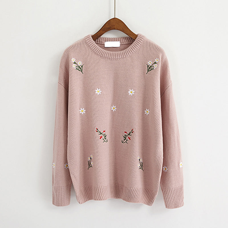 IUYZW 4 COLORS FLOWERS EMBROIDERY SWEATERS