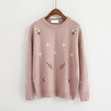 4 COLORS FLOWERS EMBROIDERY SWEATERS